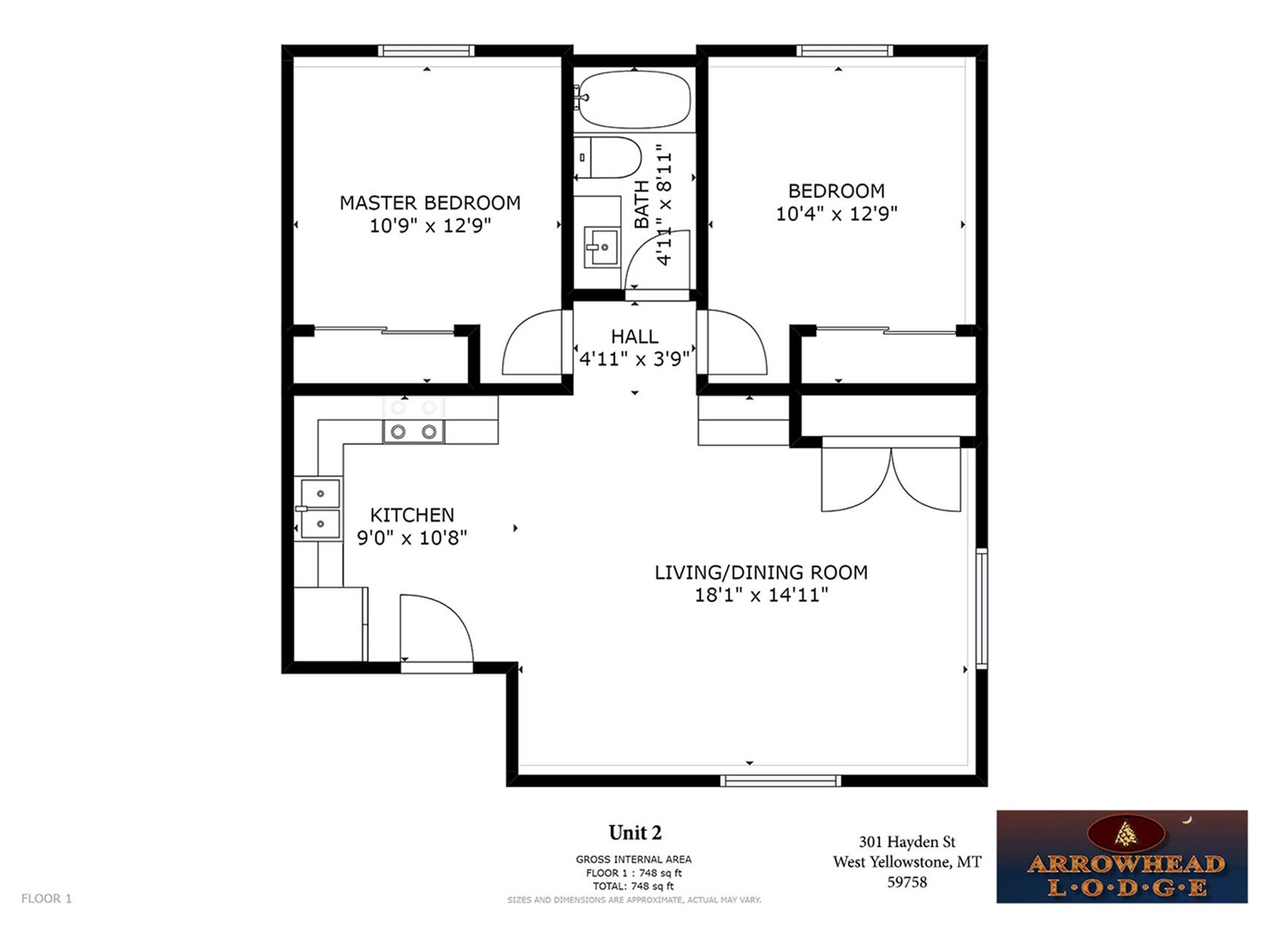 Floor Plan for Arrowhead Condos Unit 2