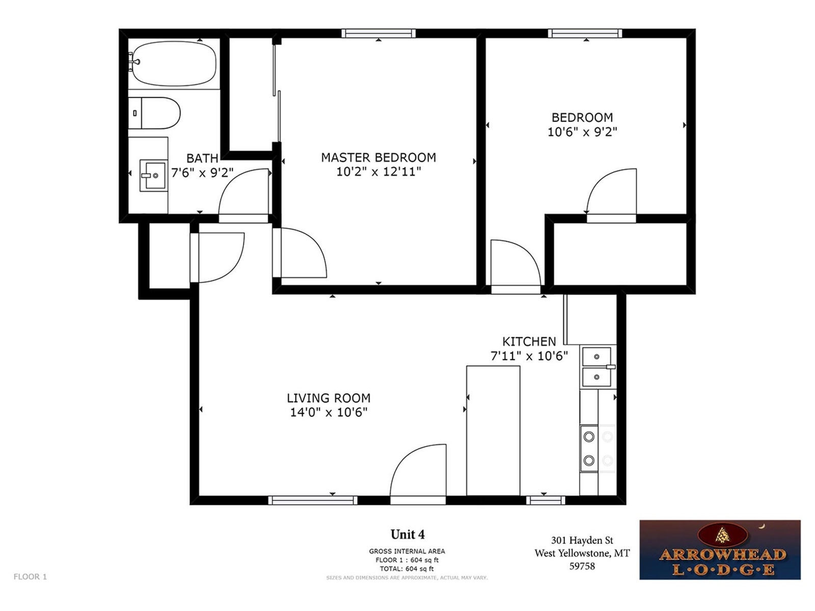 Floor Plan for Arrowhead Condos Unit 4