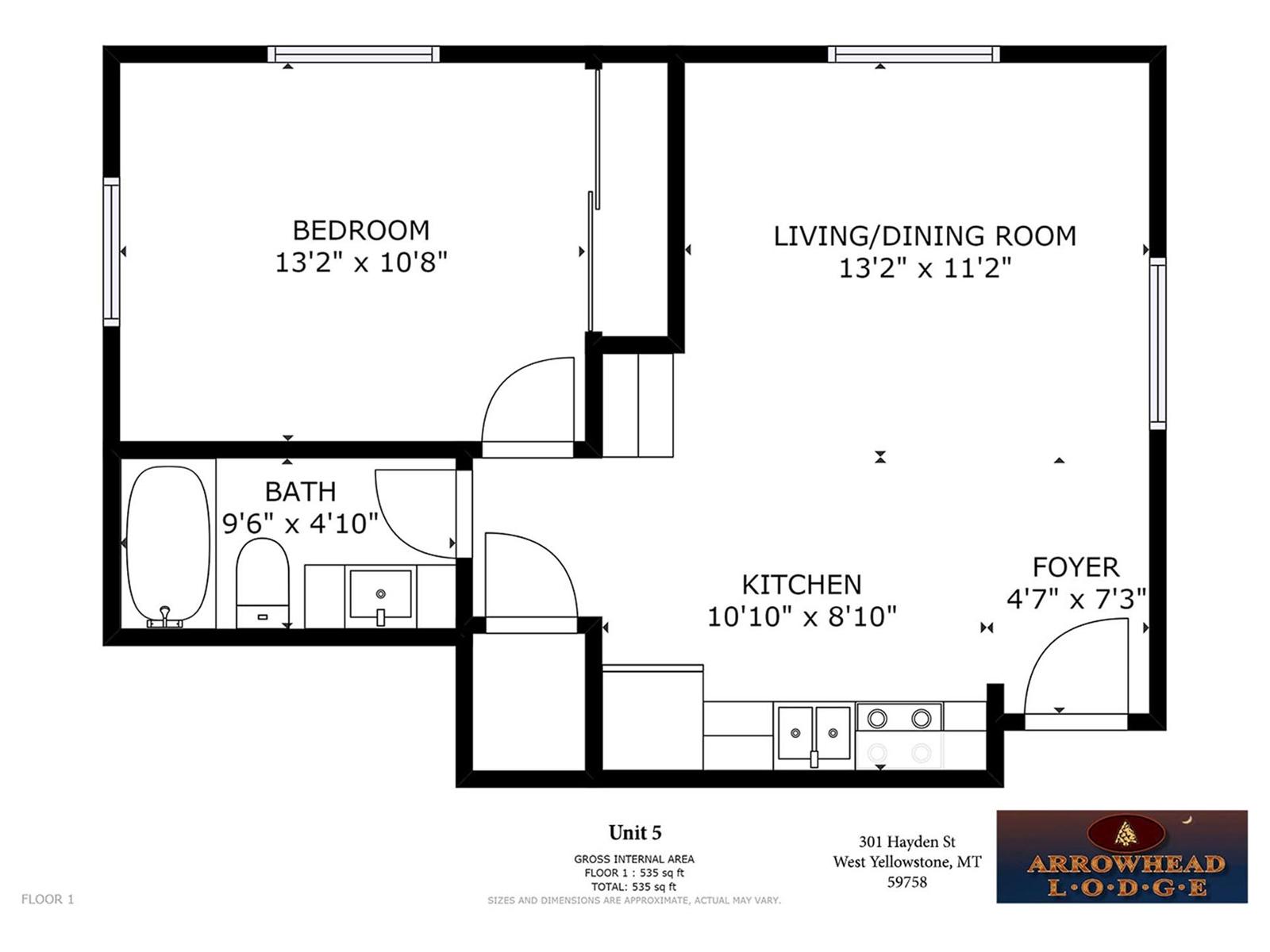 Floor Plan for Arrowhead Condos Unit 5